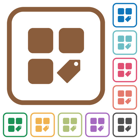 Tag component simple icons in color rounded square frames on white background