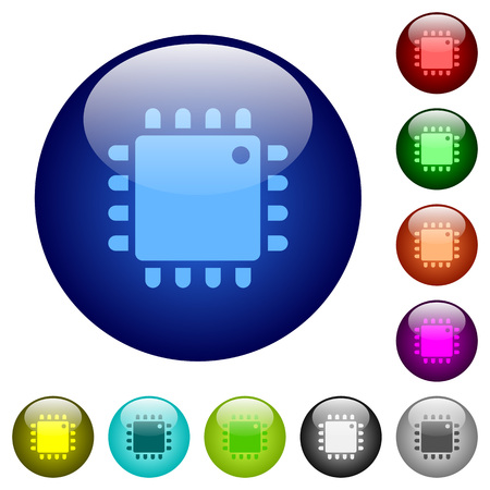 Computer processor icons on round color glass buttons