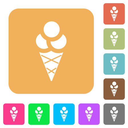 Ice cream flat icons on rounded square vivid color backgrounds.