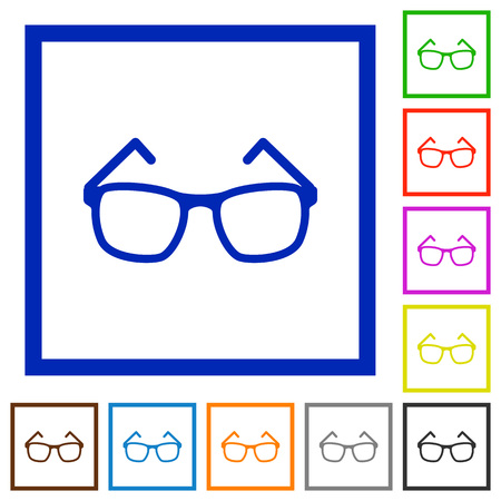 Eyeglasses flat color icons in square frames on white background