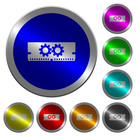 Memory optimization icons on round luminous coin-like color steel buttons Illustration