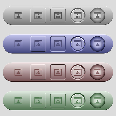 Networking application icons on rounded horizontal menu bars in different colors and button styles Иллюстрация