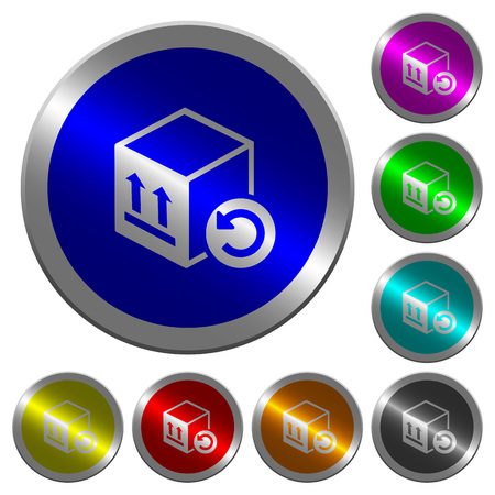 Package return icons on round luminous coin-like color steel buttons