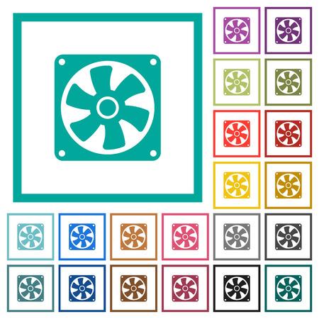Computer fan flat color icons with quadrant frames on white background Reklamní fotografie - 93615665