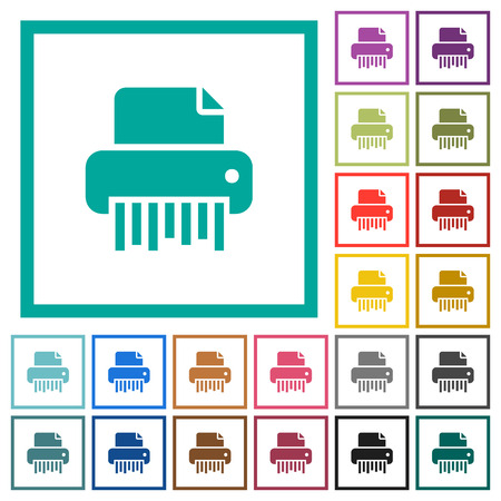 Office shredder flat color icons with quadrant frames on white background