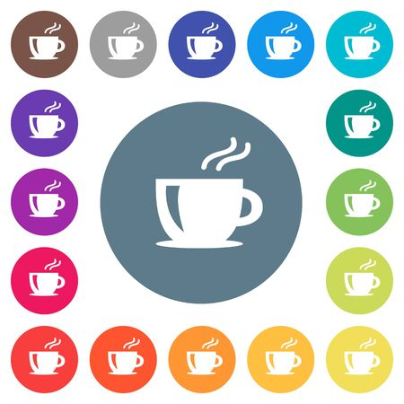Cappuccino flat white icons on round color backgrounds. 17 background color variations are included. Illustration
