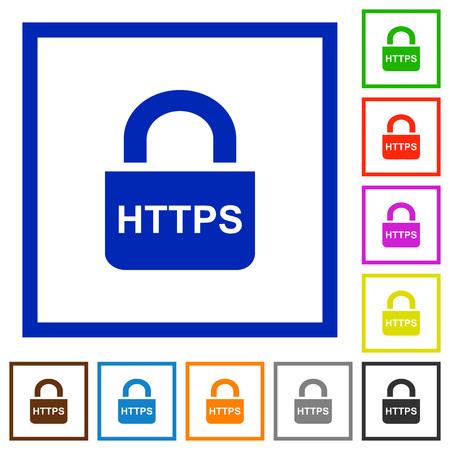 Secure https protocol flat color icons in square frames on white background Ilustração