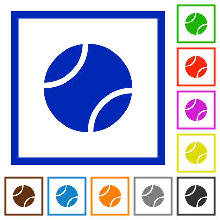 Tennis ball flat color icons in square frames on white background Stock Illustratie