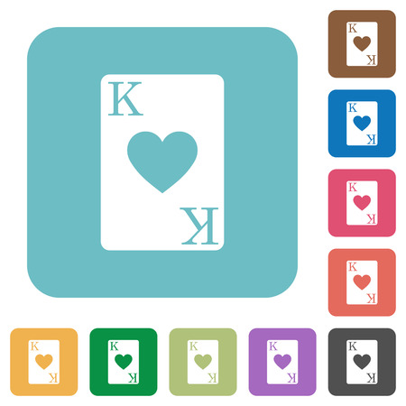 King of hearts card white flat icons on color rounded square backgrounds Illustration