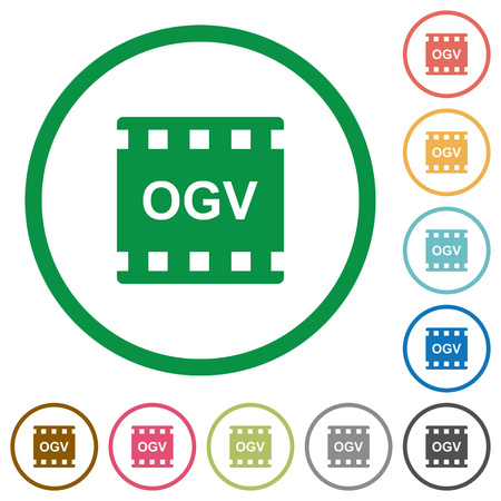 OGV movie format flat color icons in round outlines on white background