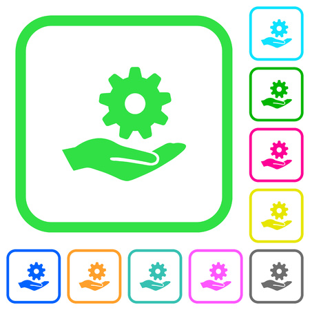 Maintenance service vivid colored flat icons in curved borders on white background