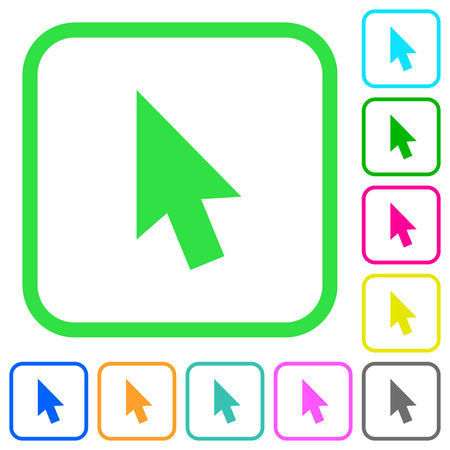 Mouse cursor vivid colored flat icons in curved borders on white background Illustration