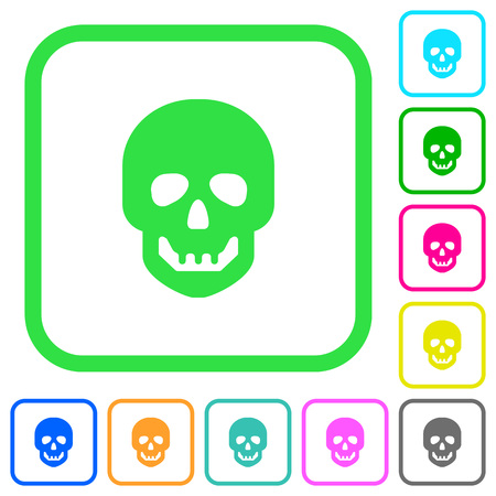 Human skull vivid colored flat icons in curved borders on white background
