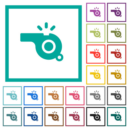 Whistle flat color icons with quadrant frames on white background
