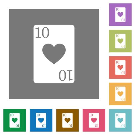 Diez de iconos planos de tarjetas de corazones en fondos cuadrados de color simple Foto de archivo - 93685265