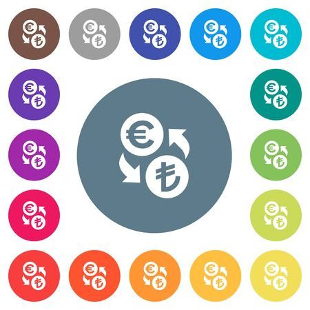Euro Lira money exchange flat white icons on round color backgrounds. 17 background color variations are included. Illustration