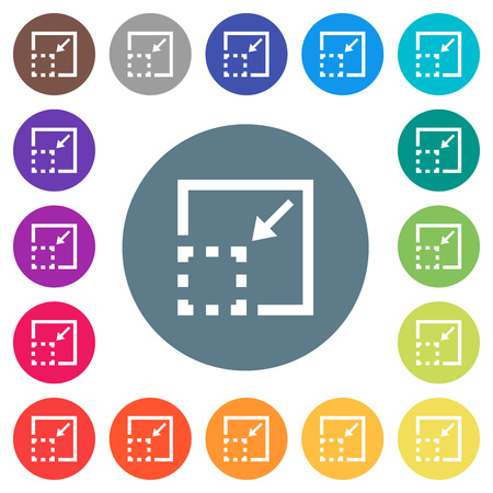 Minimize element flat white icons on round color backgrounds. 17 background color variations are included. 向量圖像