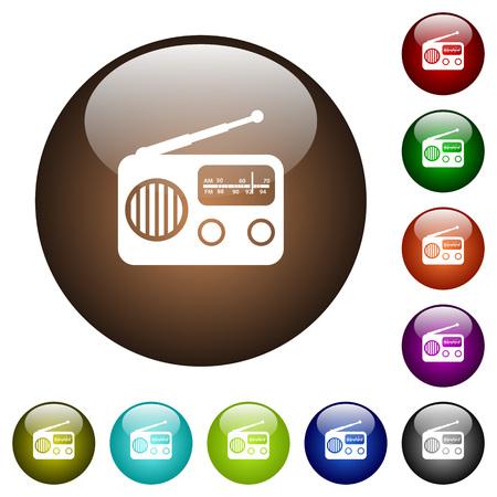 Vintage retro radio white icons on round color glass buttons Ilustração
