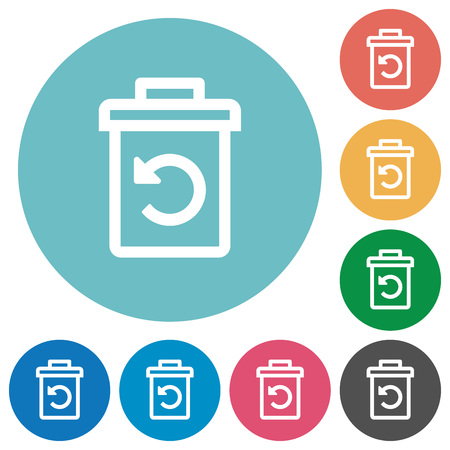 Undelete flat white icons on round color backgrounds Illustration