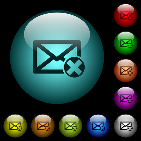 Delete mail icons in color illuminated spherical glass buttons on black background. Can be used to black or dark templates
