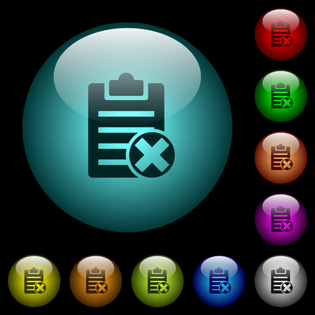Note cancel icons in color illuminated spherical glass buttons on black background. Can be used to black or dark templates Stock fotó - 93685796
