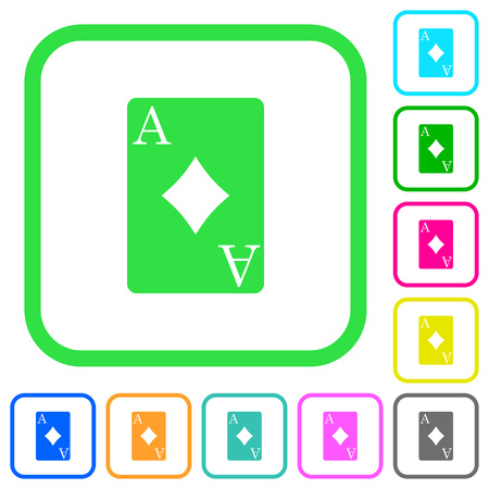 Ace of diamonds card vivid colored flat icons in curved borders on white background Illustration
