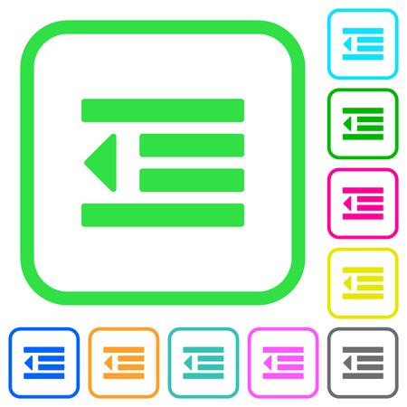 Decrease text indentation vivid colored flat icons in curved borders on white background Ilustração