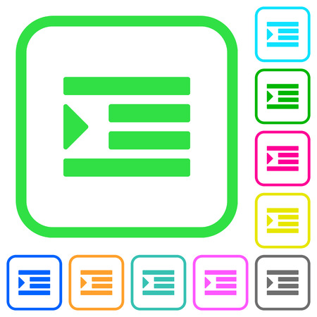 Increase text indentation vivid colored flat icons in curved borders on white background