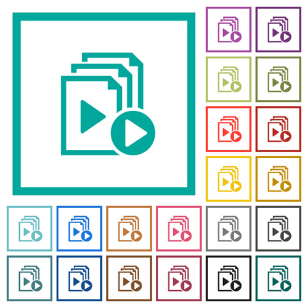 Start playlist flat color icons with quadrant frames on white background