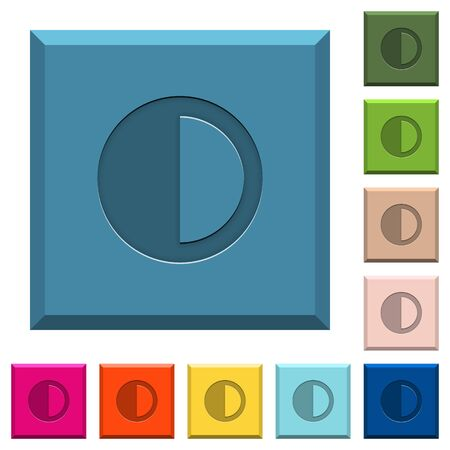 Contrast control engraved icons on edged square buttons in various trendy colors