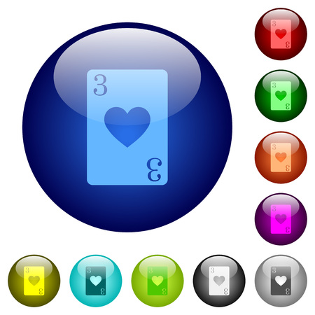 Three of hearts card icons on round color glass buttons