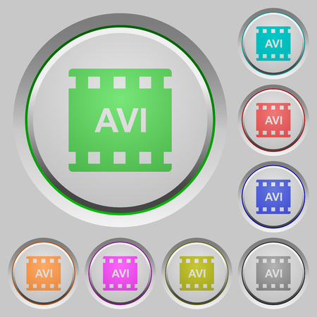 AVI movie format color icons on sunk push buttons 向量圖像