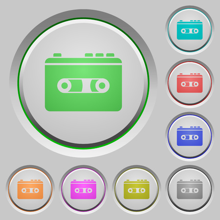 Vintage retro walkman color icons on sunk push buttons Illustration