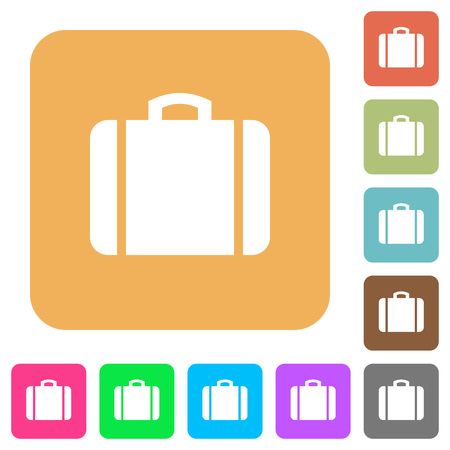 Suitcase flat icons on rounded square vivid color backgrounds.