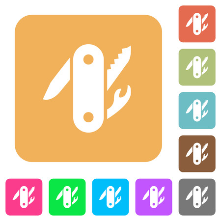 Swiss army knife flat icons on rounded square vivid color backgrounds.
