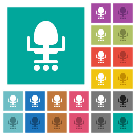 Office chair multi colored flat icons on plain square backgrounds. Included white and darker icon variations for hover or active effects.