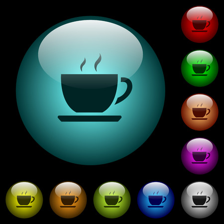 Cup of coffee icons in color illuminated spherical glass buttons on black background. Can be used to black or dark templates