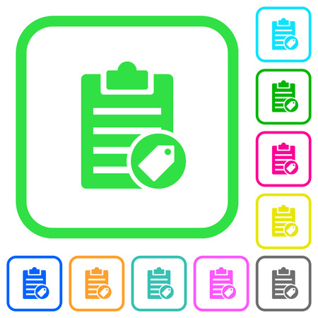 Note tagging vivid colored flat icons in curved borders on white background