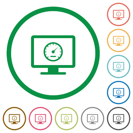 Computer benchmark flat color icons in round outlines on white background