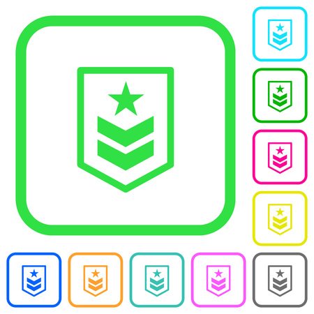 Military rank vivid colored flat icons in curved borders on white background Illustration