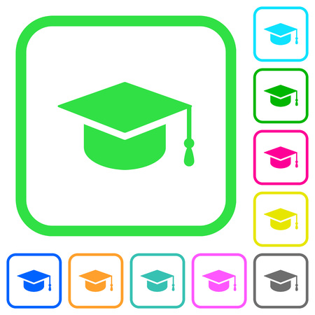 Graduation cap vivid colored flat icons in curved borders on white background