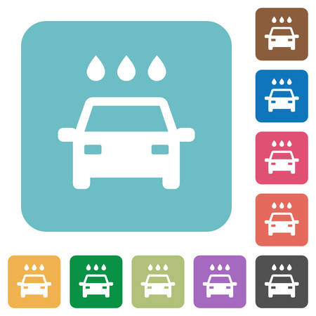 Car wash white flat icons on color rounded square backgrounds Illustration