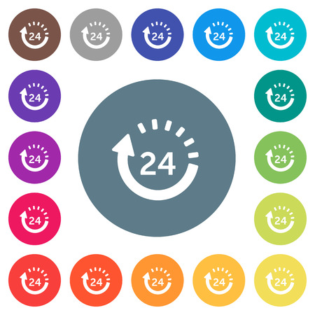 24 hour delivery flat white icons on round color backgrounds. 17 background color variations are included. 向量圖像