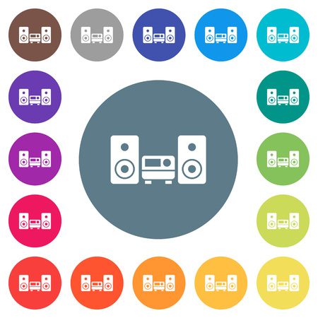 Stereo system flat white icons on round color backgrounds. 17 background color variations are included. Illustration