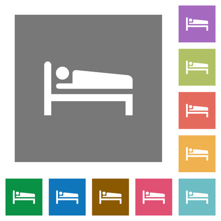 Sleeping man flat icons on simple color square backgrounds