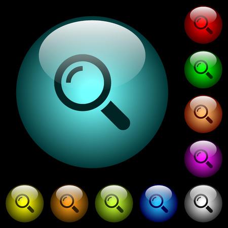 Los iconos de una sola lupa en color iluminaron botones esféricos de vidrio sobre fondo negro Se puede usar para plantillas negras u oscuras Ilustración de vector