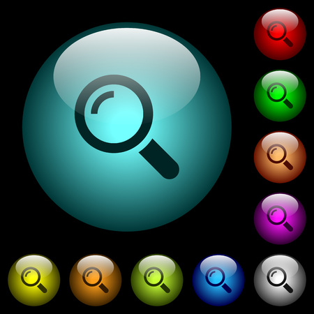 Single magnifier icons in color illuminated spherical glass buttons on black background. Can be used to black or dark templates