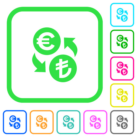Euro Lira money exchange vivid colored flat icons in curved borders on white background