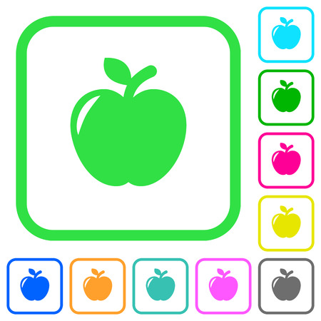 An Apple vivid colored flat icons in curved borders on white background