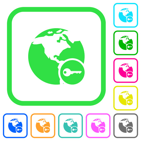 Secure internet surfing vivid colored flat icons in curved borders on white background